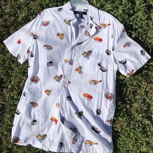 Men's button-down sushi shirt